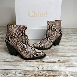 Chloe Python Print Ankle Boots Booties